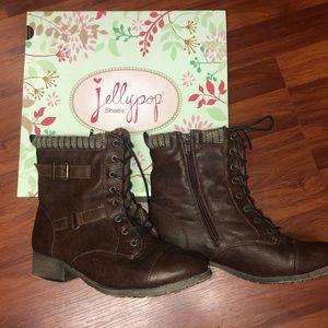 Jellypop Dark Brown Distressed Boots